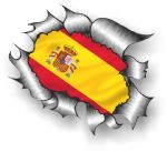 Ripped Torn Metal Design With Spain Spanish Flag Motif Vinyl Car Sticker 105x130mm
